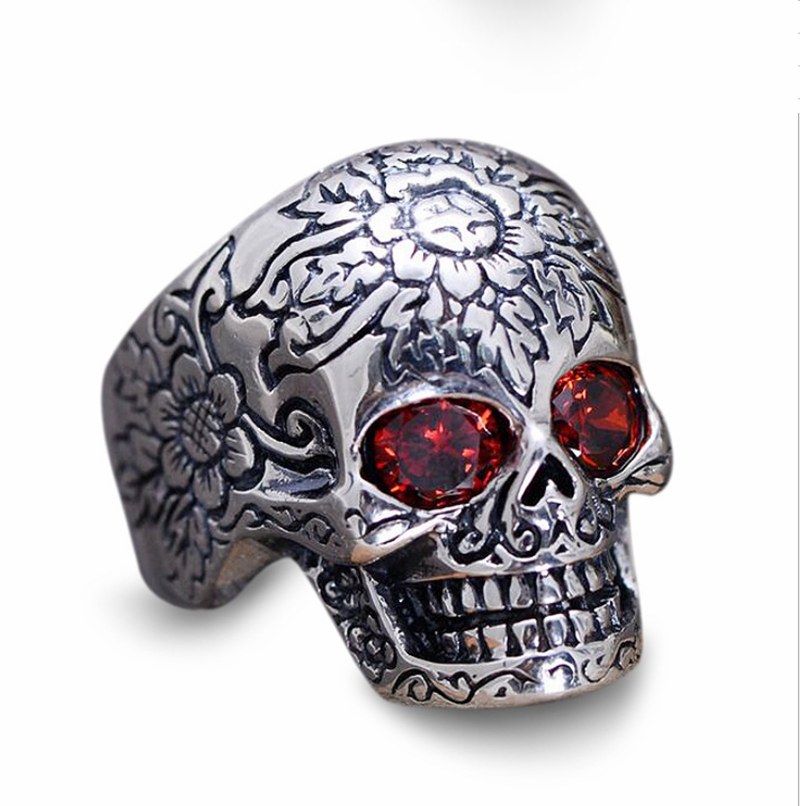 Antique Thai <strong>silver</strong> 925 Sterling <strong>Silver</strong> Skull Mens Ring