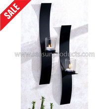 home decoration wall hanging tealight holder with glass candle cup, set of 2