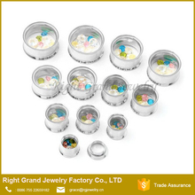 Small Gems Inlay Internally Threaded Stainless Steel Double Flared Ear Tunnel Piercing