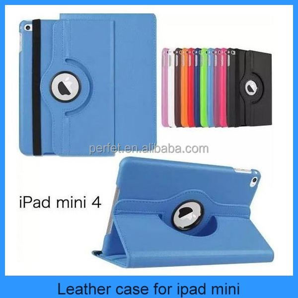 Hot Selling 360 Degree Rotation Embossed Leather Case For ipad Mini