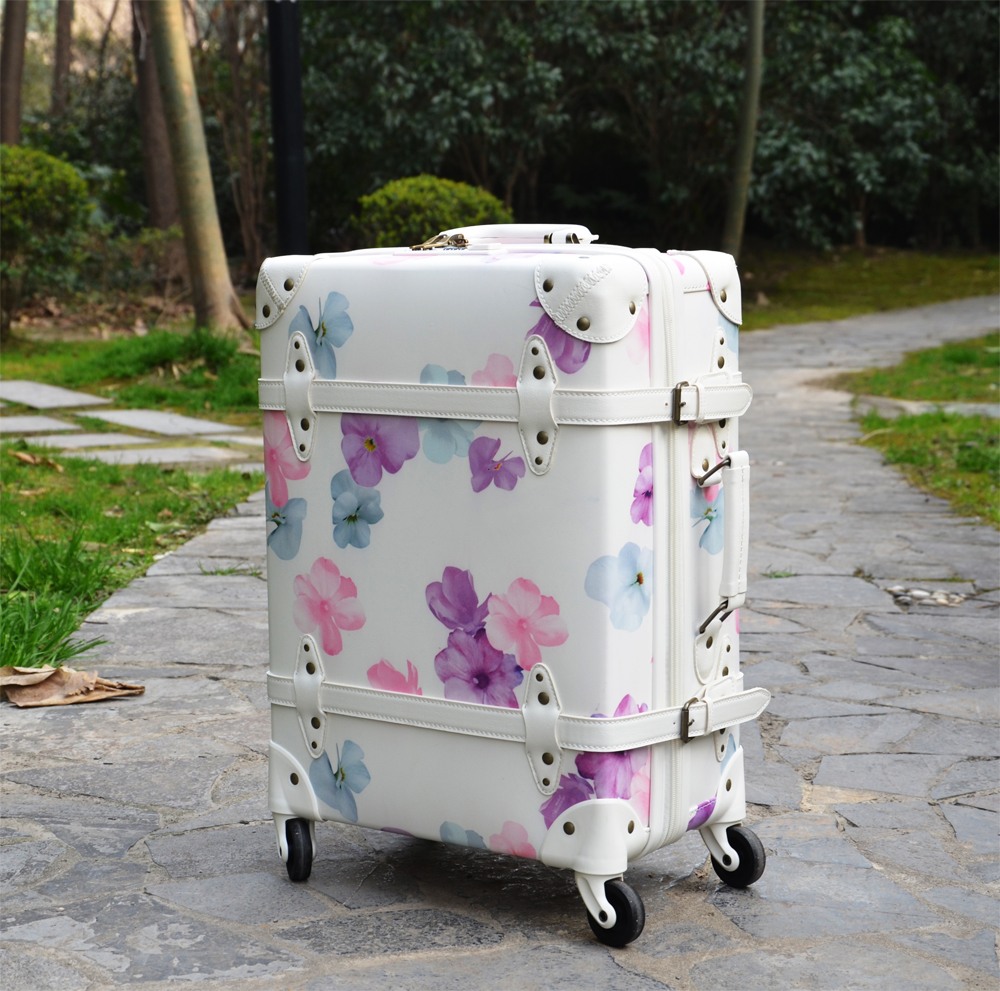 pu leather luggage trunk,new vintage style suitcase,vintage leather carry on luggage