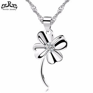 Rinntin Silver Four Leaf Clover Pendant Necklace Micro Paved 1 Piece AAA Austrian Cubic Zirconia Lucky Women Jewelry RIN11
