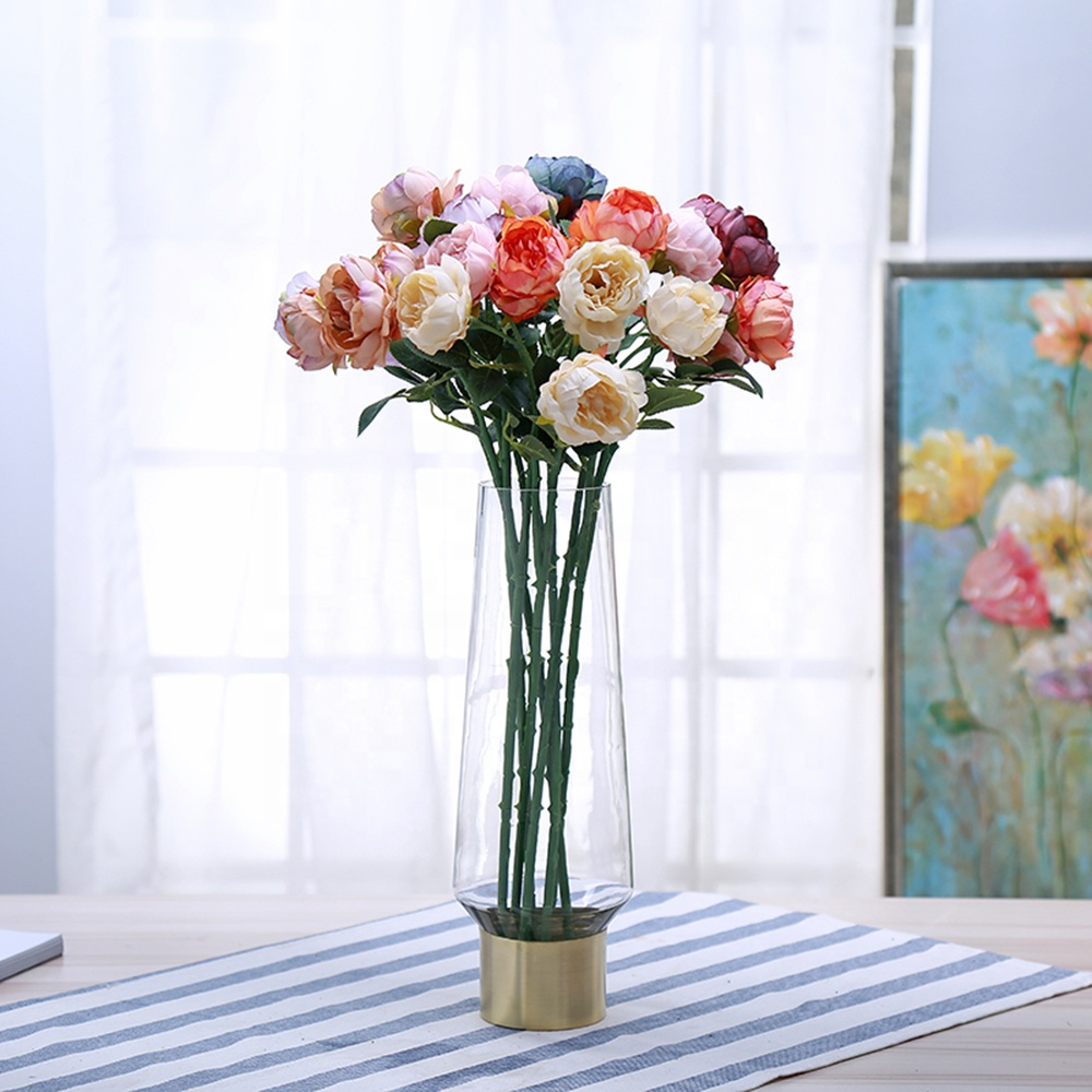 Bixuan Vases Clear Glass Flower Arrangement Vases Brass Gold Band Decor Dining Table Wedding Centerpieces, <strong>12</strong>.6'' H x 3.4'' <strong>D</strong>
