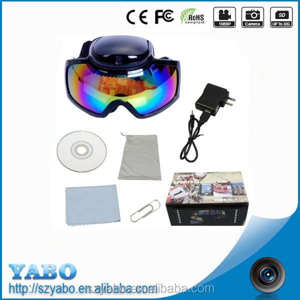 Eye Protective 1080P Video Camera Skiing Goggles sports video recording camera sunglasses