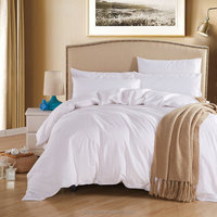 whole sale all white duvet cover sets bed sheet with 100% Cotton fabric queed size bedding set for hotel
