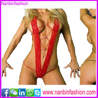 new style girls see-through halter sexy red lingerie photo women in babydoll
