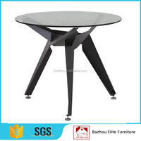 Tempered glass top round dining table with metal frame legs