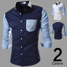 2016 Mens Luxury Casual Stylish Slim Fit Long Sleeve Casual Dress Shirts For Cotton Shirt