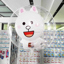 18 inch cartoon cony rabbit foil balloon transparent inside bubble balloons