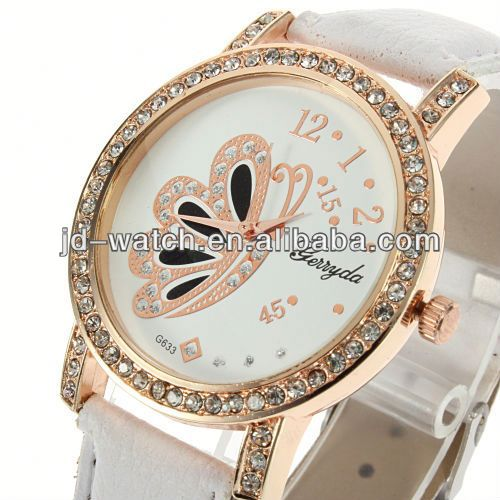 leather watch butterfly rhinestone la manufacture leather watch