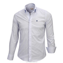 Elegant extra slim fit polka dots long sleeve white pure cotton men's shirts