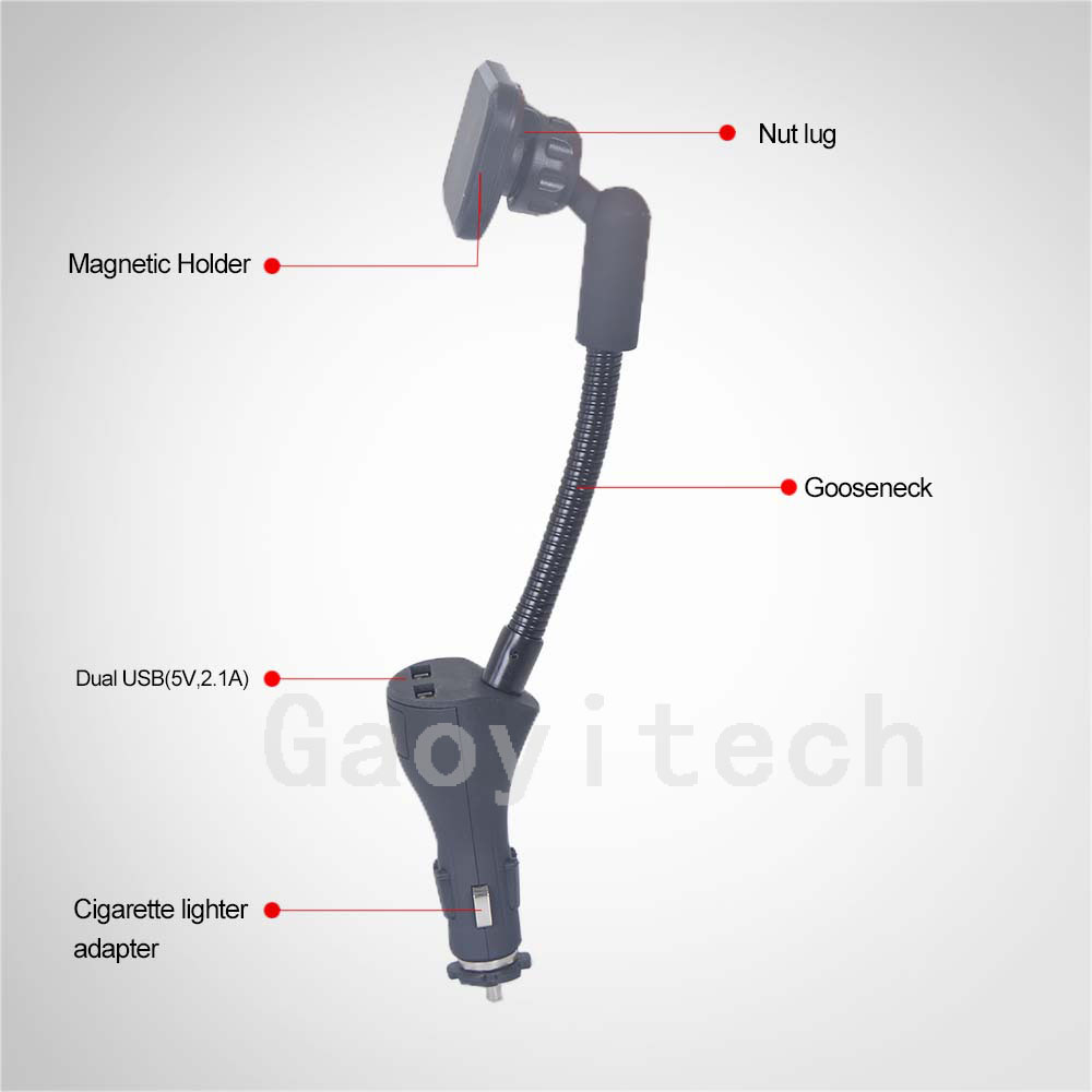 New fashional design car charging holder with 2 USB charger car phone holder