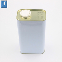 0.9L white coated oil tin can with plastic flexible cap spout metal tinplate can for chemical oil thinner