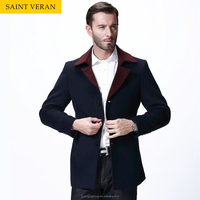 Chinese Mens 2015 wide lapel simple style slim mens winter coats