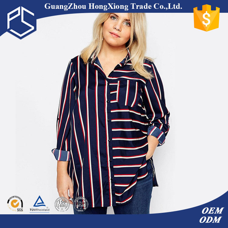 OEM service womens vertical cvc button v neck long line leisure style new model shirts