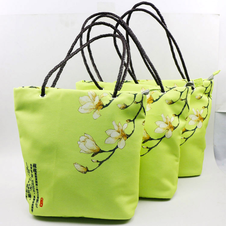 latest design canvas hand bags with knit rope for frozen food