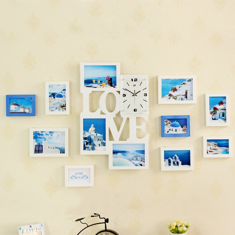 guangzhou wholesale nice big size white family wooden photo frame wall clocks