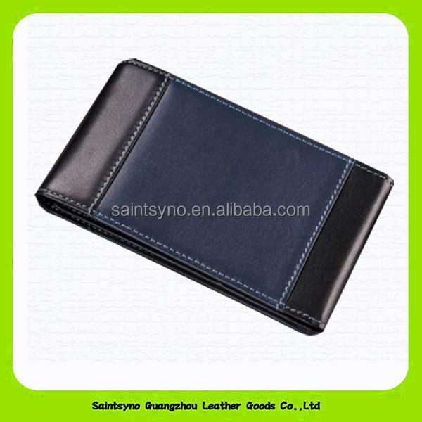 14177 D Tri-folder genuine cow leather atm card cover for men