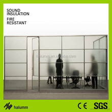 Conference room office partition glass wall hidden vision
