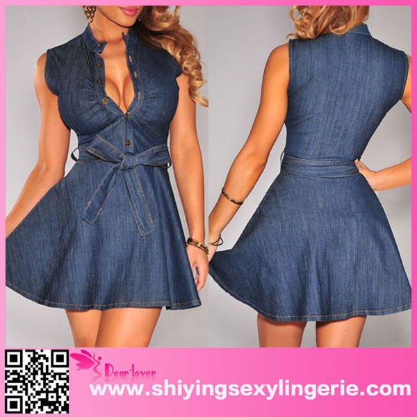 New garments High quality ladies denim dress patterns