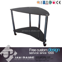 Two shelves black glass tv stand with wheel OK-51038