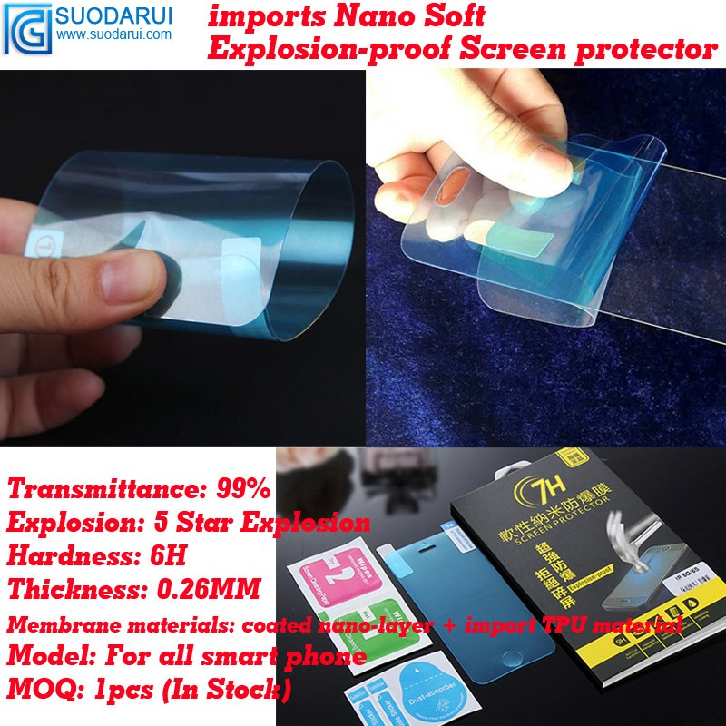 0.26mm 6H Explosion-proof soft Nano-coated Films for Samsung galaxy S7 edge screen protector