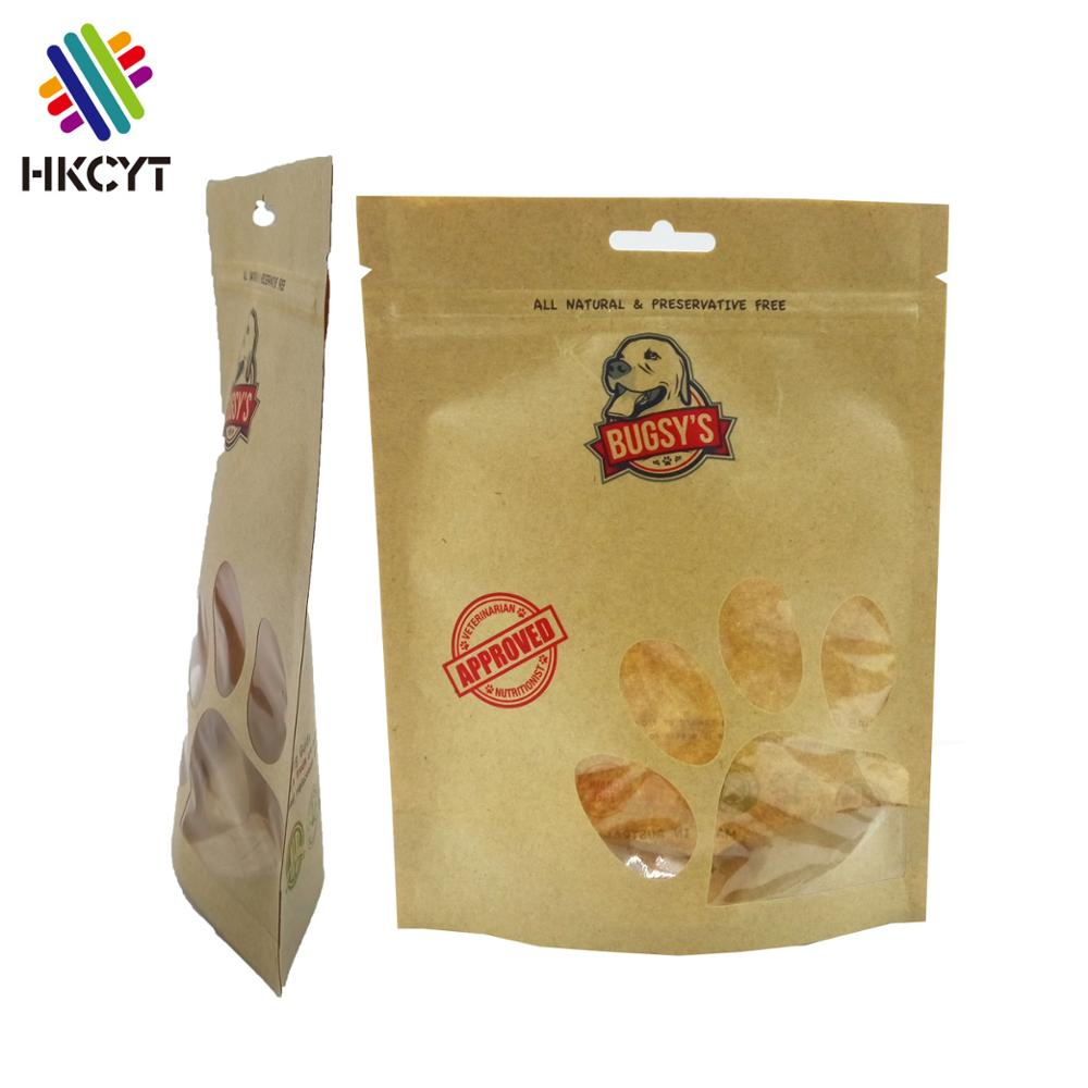Brown kraft paper heat seal stand up pouch bags for pet dog food packaging with zip lock and cute window