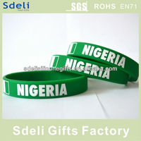 Cheap custom nigeria silk screen printing silicone wristbands/silicone rubber bracelet