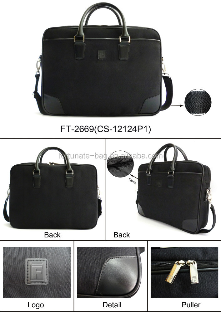 Hot sale high quality newest fashion Promotional Trendy design black color computer laptop bag polyester
