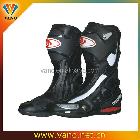 Super high fiber leather motorcycle riding boots