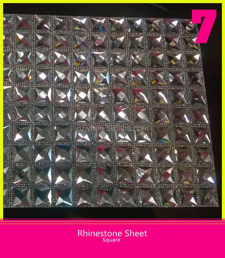 Bling 24*40cm Self-Adhesive Hotfix Square Rhinestone Sheet Crystal Decorative Sticker Sheet for Wall Paper
