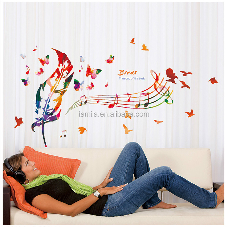 Hot selling national characteristics feather stickers living room sofa wall decor special style luky feather Music wall art