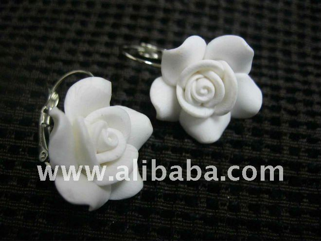 Earring - White Rose