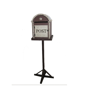 Free standing ground mounted outdoor wooden mailbox