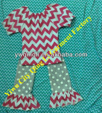 Country Girls Ruffle Pants Clothing Sets Infant Baby Boutique Summer Chevron Shirt With Dot Ruffle Pant outfit Sets