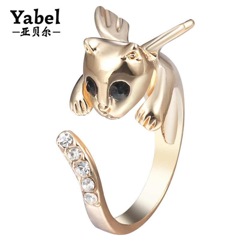 Cute Angel Cat With wings Decorated Crystal Dog Snake Fox Antlers Shape Ring