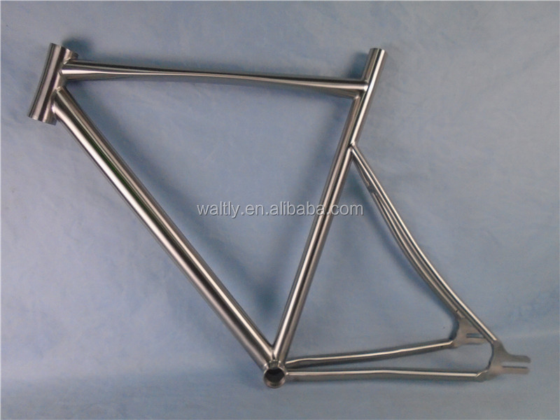 Special design titanium alloy road bike frame with natural color
