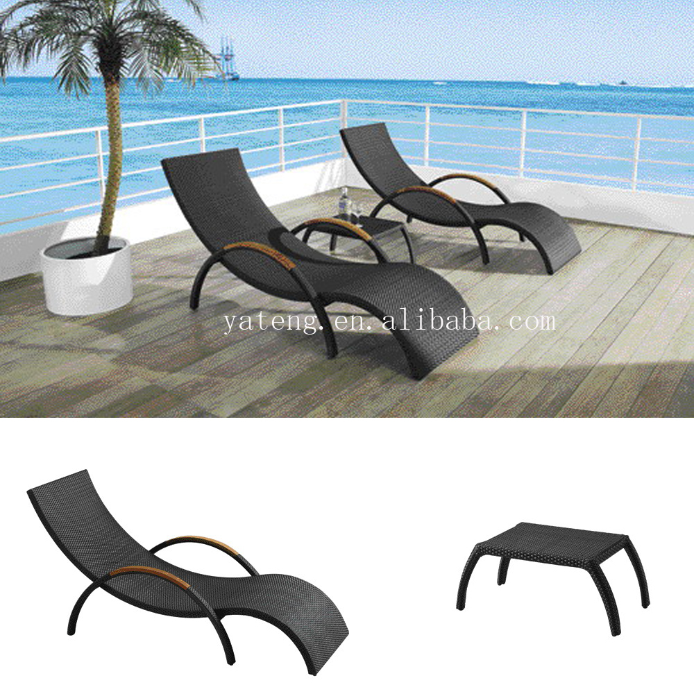All weather wicker PE rattan lounger poolside outdoor sun lounge bed furniture