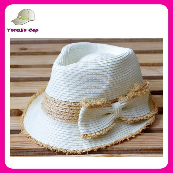 Yiwu wholesale cheap promotional custom make fedora hats with bowknot band
