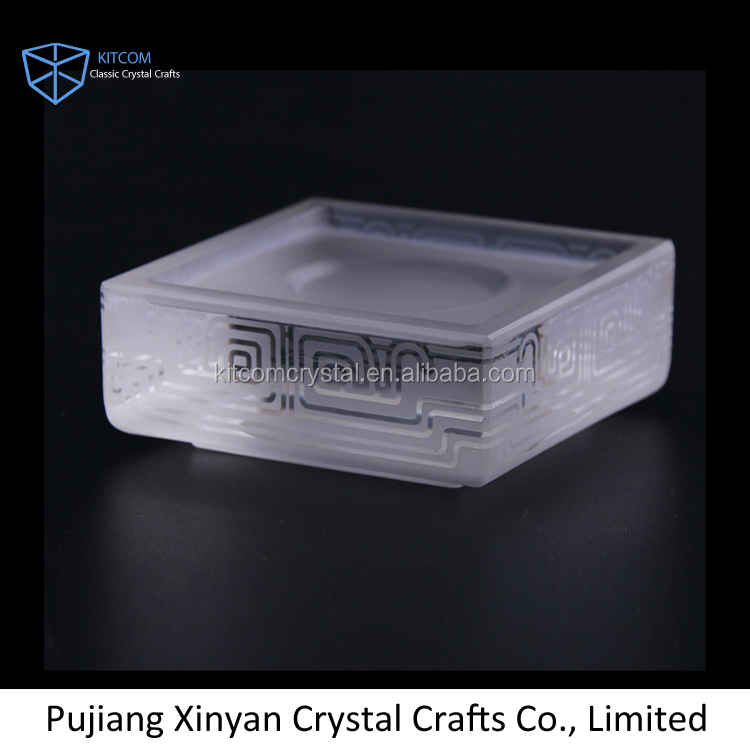 Square fashion clear souvenir gift glass crystal coaster