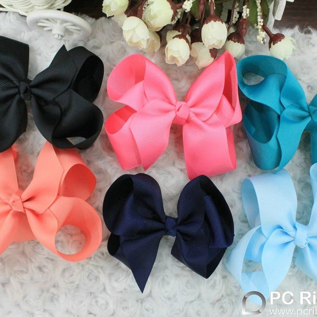 5 inch solid grosgrain boutique hair bows for kids