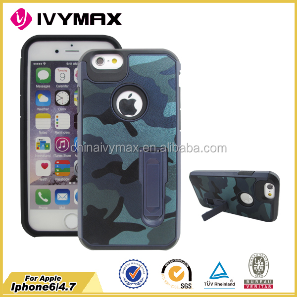 china products camouflage phone case for iphone 6 /6s 4.7 kickstand case