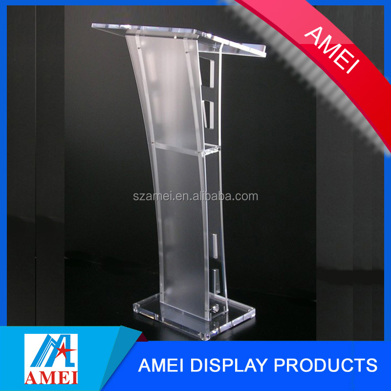 factory OEM high quality organic glass church pulpit / glass pulpit for church