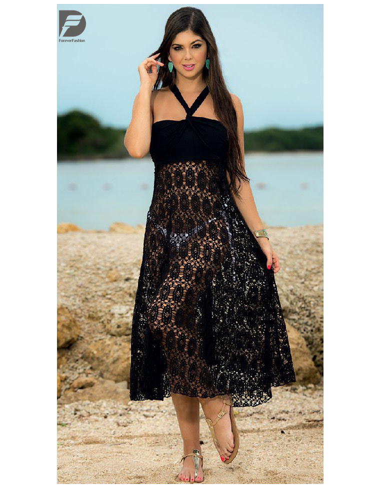 fashion sexy lace women long manufacturers breathable Hollowed-out hook-flower black plain polyester beach skirt