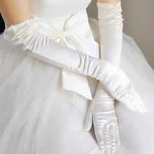 Long Section Folds Hand Sewn Beads Wedding Yarn Stretch Satin Bridal Gloves