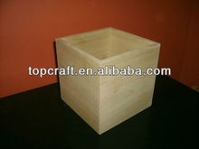 2013 HOT SALE !!! high quality pine Unfinished Wooden Box - Open Top - 6x6x6