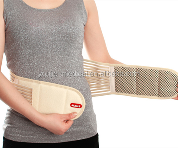 Double Pull Heated Lumbar Support Back Brace Waist Wrap for Back Pain