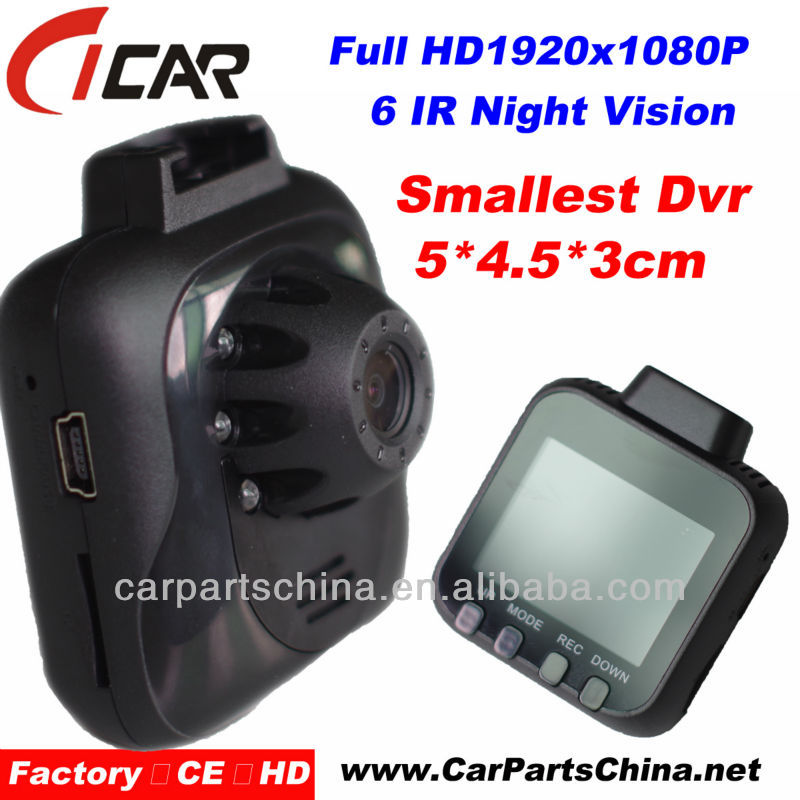 Smallest Dvr, G-sensor Night Vision 1080P Car Black Box Kit