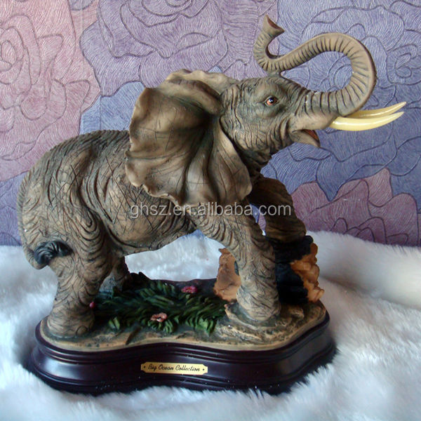 Long-nose elephant with two white Ivory, best-selling Resin Crafts, 2014 redesigned 3d model toy