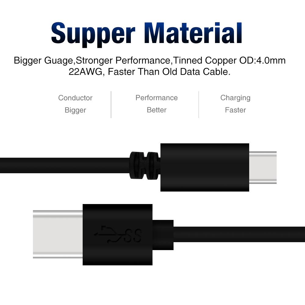Customized 1m,2m,3m standard USB 3.0 data cable to USB 3.1 type C cable with customized Retail package